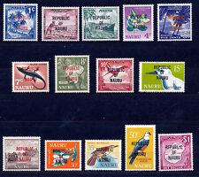 NAURU 1968 DEFINITIVES SG80/93 BLOCKS OF 4 MNH