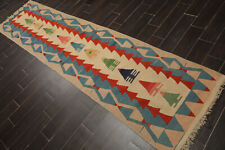 "2'10"" x 11'2"" Hand Woven Turkish Kilim Wool Oriental Area Rug Runner Tan"