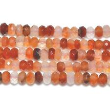 Carnelian Faceted Rondelle Beads 5x8mm Orange/White 70+ Pcs Gemstones Jewellery