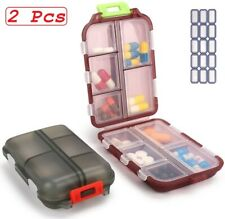 2 Pcs Daily Pill Organizer Case Small for Purse Medicine Carrying Box Travel NEW