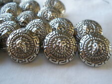 "36 Lion buttons 24L 5/8"" steampunk bulk lot Versace style Greek Key silver color"