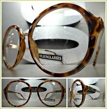 CLASSIC VINTAGE RETRO Style Clear Lens EYE GLASSES Round Leopard Rose Gold Frame