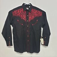 Gibson Trading Company Western Shirt Black Pearl Snap Mens L Red Embroidery