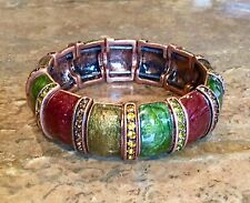 """""""JOAN RIVERS COLLECTION"""" COLORS OF AMBER CRYSTAL STRETCH BRACELET GORGEOUS!!"""