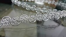 1.5cm- 2 metre high quality gorgeous silver braid lace trimming for crafts decor