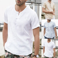 NEW Men's Linen Style Short Sleeve Grandad Tops Holiday Causal T shirt Tee Tops