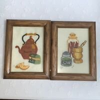 Vintage Wood Framed Needlepoint Kitchen Wall Art Sunset Designs Teapot Spices