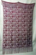 """Beautiful Chantilly 41"""" x 74"""" Cranberry and Oyster Fringe Lace Throw or Wrap"""