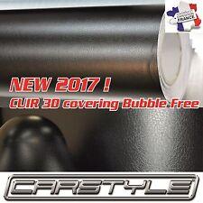 CUIR 3D Film vinyle covering thermoformable Bubble Free NOIR, toit et garnitures