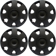 "Hub Caps 4 piece Set Black Matte 15"" Inch Wheel Covers Cap Cover"