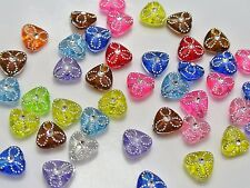 200 Mixed Color Sparkling Silver Flower Acrylic Triangle Beads 9mm Spacer