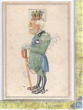 Illustrata -  Vittorio Emanuel III -  corona e cappelli - cartoncino con ruota
