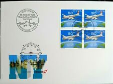 Switzerland SWISSAIR 50TH AN. TRANS.FLIGHT 1997 FDC FRANKED WITH BLK OF 4 STAMPS