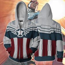 Captain America Falcon Hoodie Avengers Cosplay Jacket Full-Zip Coat Sweatshirt