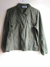 Chico's Military Army Inspired Olive Green Button Up Jacket Shirt Size 2