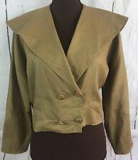 Ellen Tracy Cropped linen Blazer jacket Size 8 Taupe 2 Button oversized VTG 80s