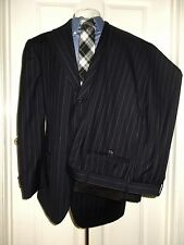 "RALPH LAUREN POLO ITALY NAVY BLUE STRIPE SUIT LUXURY WOOL 40 R REGULAR 32"" WAIST"