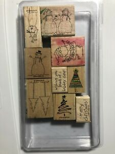 Stampin' Up! Christmas Winter Holiday 2004 - Lot of 9 Rubber/Wood Stamps w/case