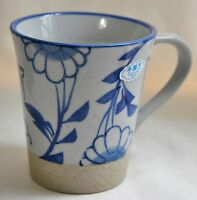 Small Coffee Mug Ceramic Tea Hand Painted Blue Gray Floral Porcelain 6oz Japan