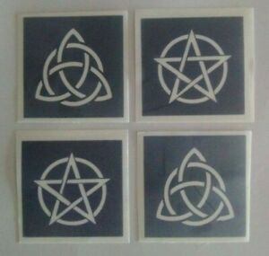 Triquetra & Pentacle stencils for glitter tattoo mixed Pagan Wiccan gothic