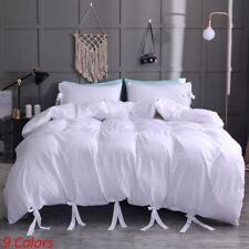 Lacing Solid Color Faux Washed Cotton Soft Duvet Cover With Pillowcase Set