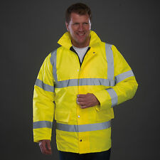Yoko Hi Vis Road Safety Jacket Waterproof Coat High Viz Winter Lined (HVP300)