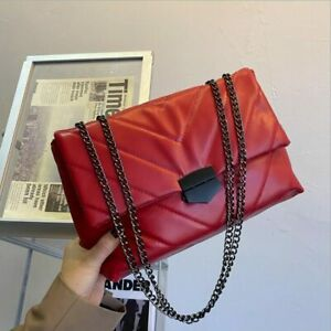 Women Casual Chain Crossbody Bags PU Leather Female Fashion Simple Shoulder Bags