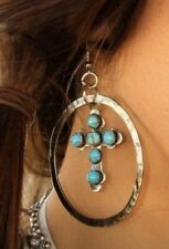Silver Turquoise Corss Earrings