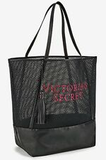 VICTORIA'S SECRET BLACK MESH TOTE HANDBAG BEACH BAG PURSE LARGE SPORT GYM BEAUTY