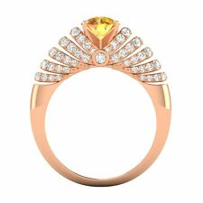 1.76 Ctw Round Citrine & SI Diamond Engagement Wedding Ring Solid 14k Rose Gold