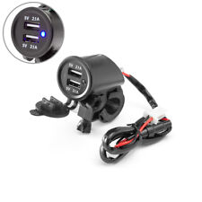 Twin USB Power Socket for Motorbike 22-25mm Handlebars Quad ATV Trike Buggy 12V