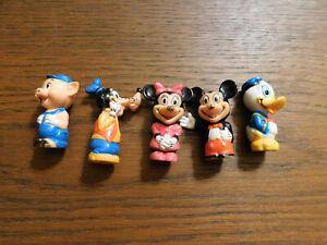 Vtg 1980s Disneyland Mickey Minnie Pig Mouse Playmates Train Play Set 5 Figures