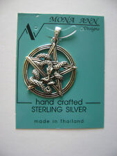 Sterling Silver Pentagram In Circle With Wrapped Snake Design Pendant New