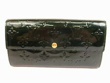 Auth LOUIS VUITTON Vernis Patent Leather Deep Green Wallet Purse Sarah #5737