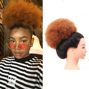 Women's Short Curly Ponytail Afro Buns Hair Clip In Puff Elastic Drawstring 8''