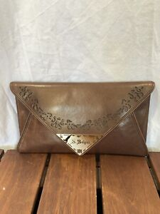 BVLGARI Authentic Metallic Brown Clutch Made in Italy