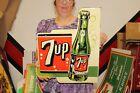 """Large 7Up 7 Up Soda Pop Gas Oil 2 Sided 19"""" Porcelain Metal Flange Sign"""