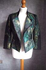 Karen Millen Jacket 10 | Black and Green | Asymmetric Zip | Jacquard Fabric