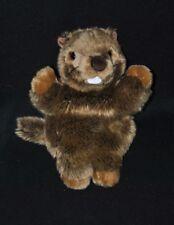 Peluche doudou marionnette marmotte ANIMA marron brun yeux durs 26 cm NEUF