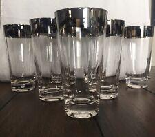 VINTAGE DOROTHY THORPE GLASSES SET OF 7 HIGHBALL FLARE SILVER BANDED GLASESS