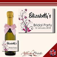 L29 Personalised Mini 20cl Hen Party Bridal Prosecco Bottle Custom Label