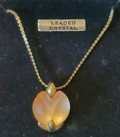 """18""""-Vintage Pink Lead Crystal Pendant Gold Tone Necklace -NEW IN BOX"""