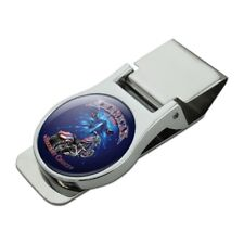 American by Birth Motorcycle USA Flag Chrome Metal Money Clip