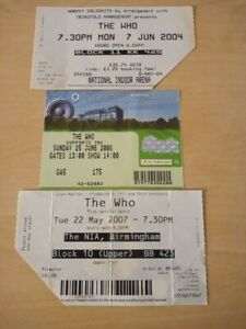The Who Concert Ticket Stubs X 3