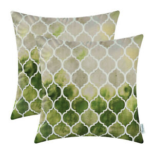 """2Pcs Grey Green Olive Cushion Cover Pillow Case Colorful Chains Car Decor 16x16"""""""
