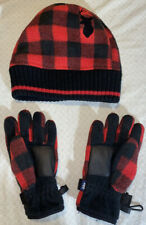 Kids Size Small GAP - Deer - Red Plaid Hat & Gloves Set