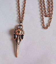 "A Crow Raven Bird Skull Red Copper Tone Charm Pendant 30"" Long chain  Necklace"