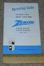 ZENITH Operating Guide for Solid State AM FM Clock Radio Model F452
