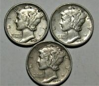 1943 PDS  Set of three Mercury Dimes circulated 90/% Silver XF  Extra Fine
