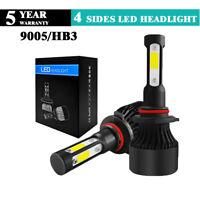 2Pcs 4-Side 9005 HB3 LED Car Headlight Kit COB 100W Light Bulbs 8000LM 6000K